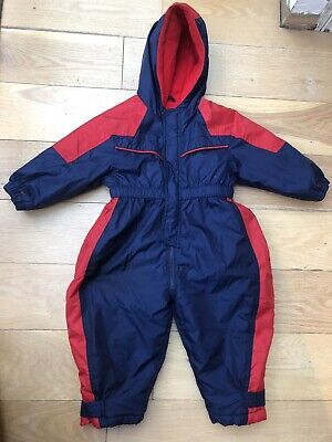 Mothercare Boys Girls Navy Red Warm Winter Ski Snow Padded Suit Age 2-3 Fleece