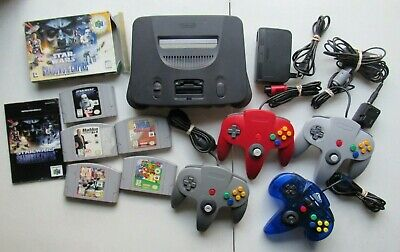 Nintendo 64 N64 Console System Complete 4 Controllers Cords Games Super Mario 64