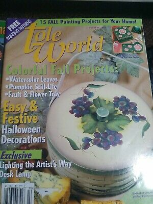 DECORATIVE PAINTING TOLE WORLD MAGAZINE October 2001 colorful fall project