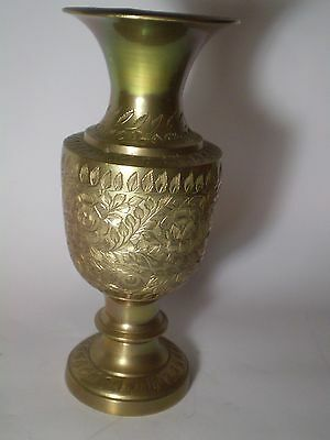Unique Antique Indian Hand Crafted Engraved Bronze BRASS   Vase Etched . 7 ''.