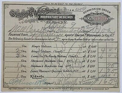Old Quack Orator F Woodward Proprietary Medicines Sales Commission Order Receipt