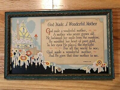 Vintage 1928 Art Deco Picture Print A Mothers Sentiment Wood Frame