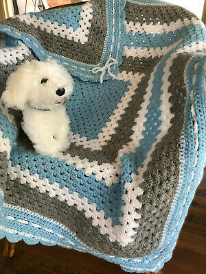 Handmade Crochet Baby Blanket Bassinet Car Cot Floor Pram  Blue/Grey /white