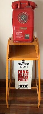 ORIGINAL RED PAY PHONE  On Stand RARE 20 Cent