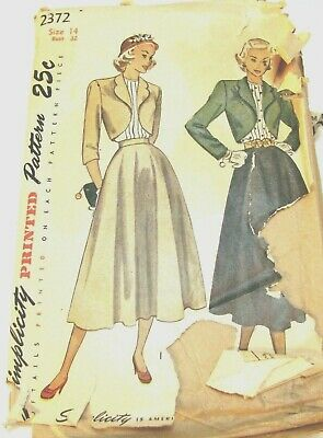 1940s Ladies Bolreo Suit and Blouse Simplicity Sewing Pattern 2372 Sz 14