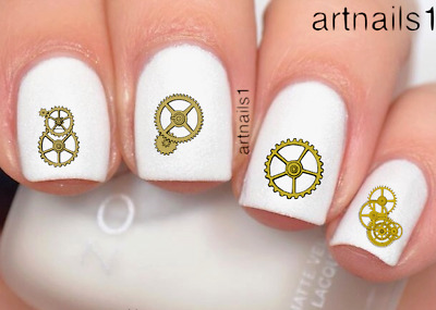 Steampunk Gold Gears Nail Cosplay Art Water Decal Stickers Manicure Salon Polish