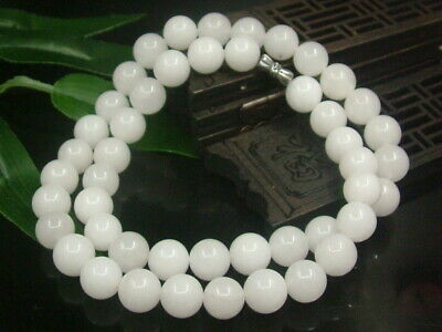 Chinese Antique Celadon Nephrite Hetian-OLD WHITE Jade 10mm Bead Necklac Pendant