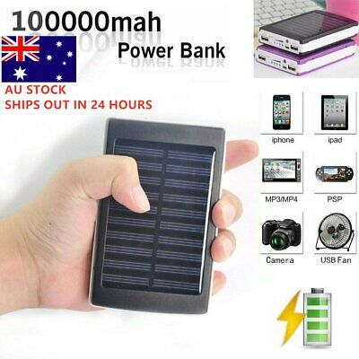 Portable Solar Power Bank 100000mAh Dual USB External Battery Charger For Phone