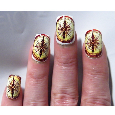 Compass Steampunk Nail Cosplay Art Water Decal Stickers Manicure Salon Polish