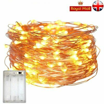 20/30/100 LED Battery Micro Rice Wire Copper Fairy String Lights Party White UK