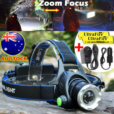 Zoom Headlamp 150000LM Rechargeable CREE T6 LED Headlight Flashlight Head Torch