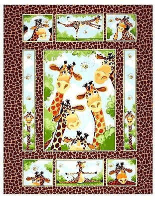 Susybee Zoe Giraffe Quilt Panel * Cute * New * Free Post *