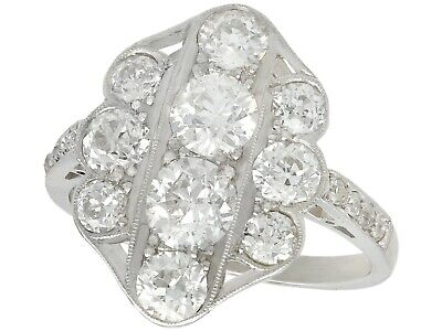Vintage 2.85 Ct Old Cut Diamond and 18k White Gold Dress Ring 1940s