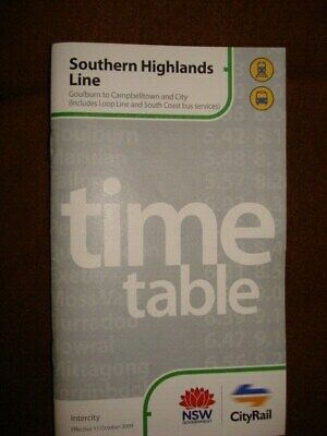 City Rail Southern Highlands Line Oct 2009 Timetable