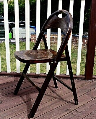 ANTIQUE BENTWOOD BAUHAUS THONET CROCODILE SKIN EFFECT FOLDING CHAIR c1910