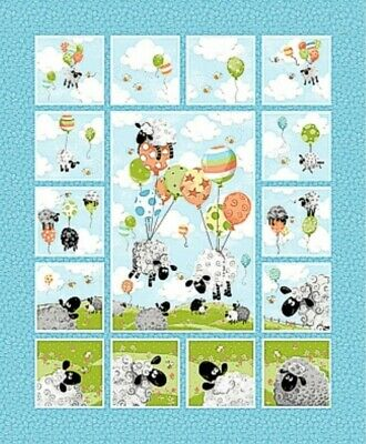 Susybee * Lewe's Balloons 11 Quilt Panel * New * Free Post * Cute Lambs * 🐏
