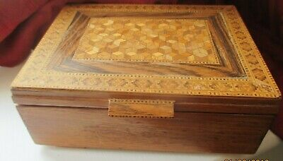 Wood Tunbridge ware  antique  CIGAR BOX   C 1900 GOOD CONDITION