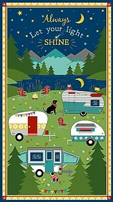 Gone Glamping Quilt Panel  * New * Free Post * Perfect For Camping Enthusiasts *