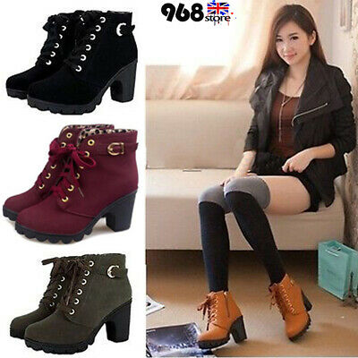 Womens High Block Heel Chunky Ankle Boots Ladies Casual Lace Up Buckle Shoes UK