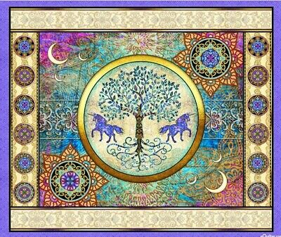 Mystical Unicorn Tree Quilt Panel * Amethyst * New * Free Post * Gorgeous *