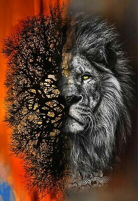 Call Of The Wild Quilt Panel * Lion Sunset * Free Post * Stunning * Digital *