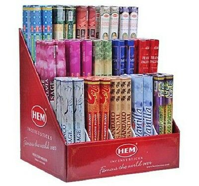 1-2 Boxes (20-40 Sticks) Incense  Sticks Hem Brand 100+ Scents Hex Boxes