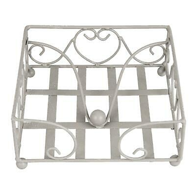 Napkin Serviette Holder Storage Metal Distressed Shabby Chic Grey