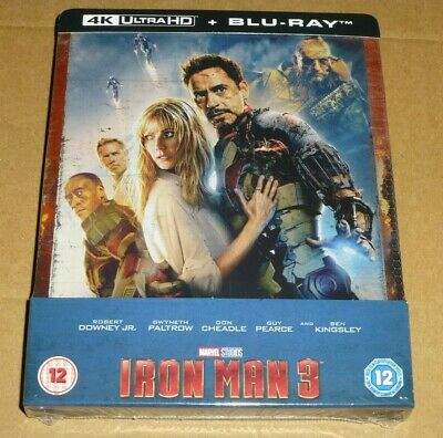 IRON MAN 3 - 4K UHD + 2D Blu-ray UK Limited Edition STEELBOOK, Marvel, *In Stock