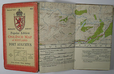 1947 Old OS Ordnance Survey Popular Edition One-Inch CLOTH Map 42 Fort Augustus