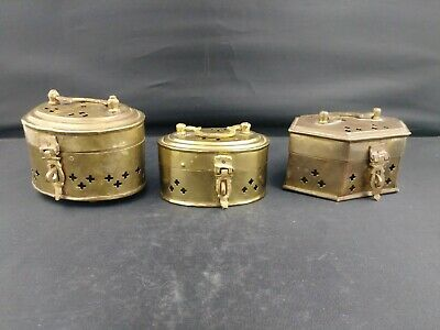 Lot Of Three Vintage Cricket Boxes ~ Brass Incense Holders ~ India