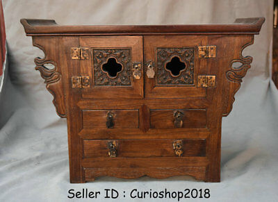 """16.4"""" Old Chinese Huanghuali Wood Dynasty Drawer Table Cabinet Antique Furniture"""