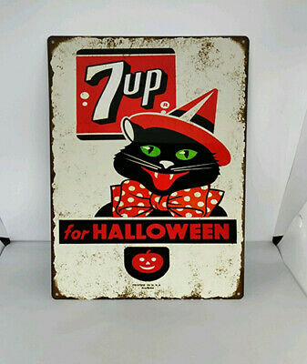 Black Cat JOL 7up Halloween Soda Pop Baked Metal Repro Sign 9x12 60183