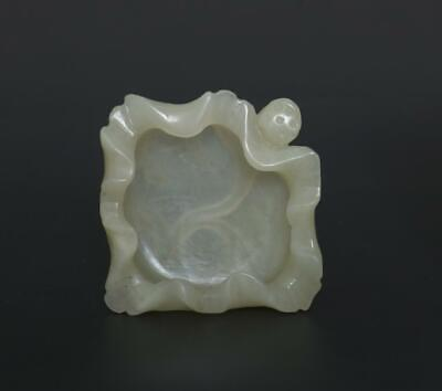 Fine Antique Chinese Carved Natural Nephrite HeTian Jade Brush Washer-Lotus leaf