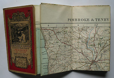1933 old OS Ordnance Survey one-inch Popular Edition Map 99 Pembroke and Tenby