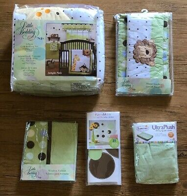 Little Bedding by NoJo Jungle Pals Crib Set Diaper Stacker Valance Decals