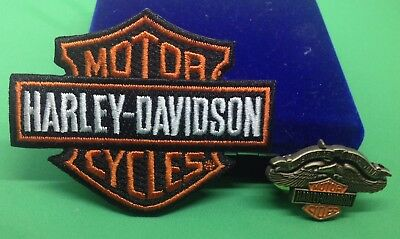 Harley Davidson eagle lapel pin &  3 INCH IRON ON orange Patch