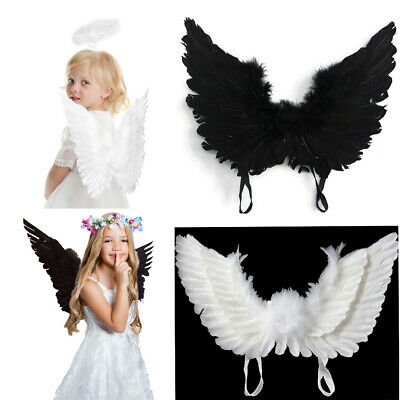 Feather Angel Wings Christmas Halloween Fancy Dress Costume Party Child Adult