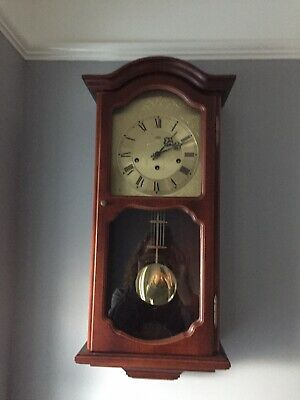 German 'AMS' 8-Day Mahogany Case Wall Clock with Westminster Chimes