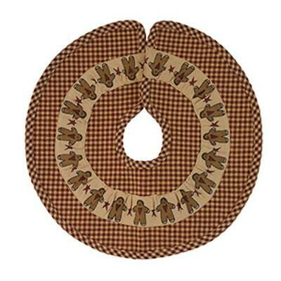 "Primitive GINGERBREAD MEN Christmas Tree Skirt, 16"" Dia, by Country House"
