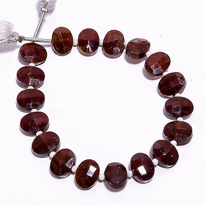 """60 Ct Natural Hessonite Garnet Gemstone Oval Faceted Beads Strand 9 mm 6"""" PB3372"""