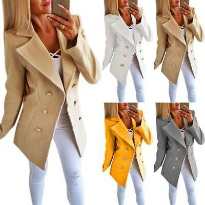 Womens Button Lapel Wool Jackets Overcoat Outwear Slim Ladies Winter Long Coats