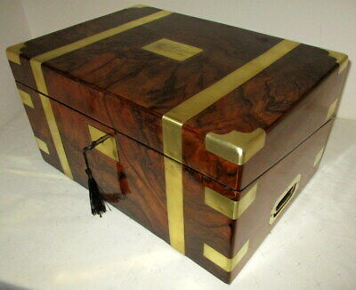 VICTORIAN WALNUT & BRASS BOUND WRITING SLOPE secret drawers,inkwells & key