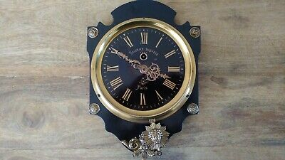 Antique French Farcot 8 Day Ebonised Shield Wall Clock