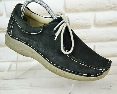 WOLKY Womens Black Leather Comfort Casual Lace-Up Shoes Sneakers Size 5 UK 38 EU