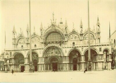 Antique c1895 Albumen Photograph ST MARKS BASILICA VENICE ITALY PEOPLE