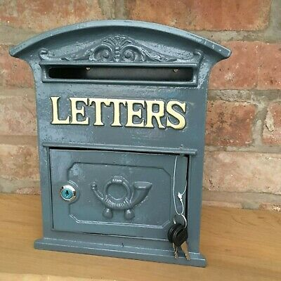 Traditional Cottage Or Modern Home Grey Heavy Metal Type Wall Mounted Post Box
