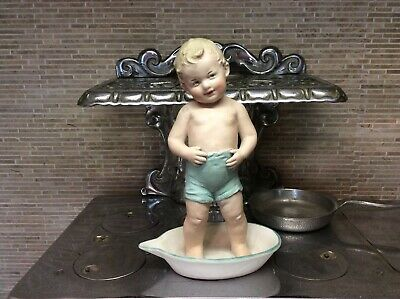 Heubach German Bisque Boy in Frying Pan Figurine Piano Baby French Bisque