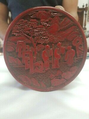 An Antique Chinese Lacquer Carved Cinnabar Box