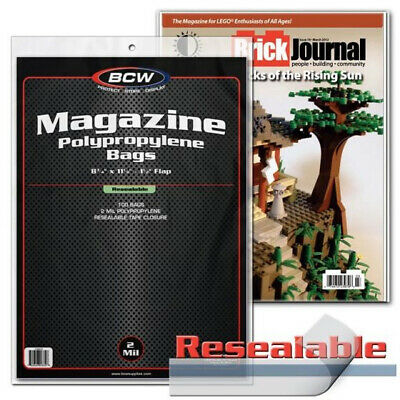 (25) Bcw Resealable Magazine Soft Poly Acid Free Storage Bag Display Holders