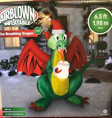 Air Blown Inflatable Fire-Breathing DRAGON Gemmy 6.5ft 1.98m Wide Christmas LED